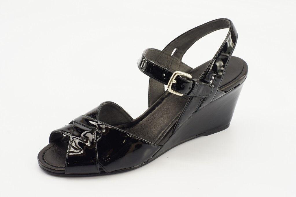 360 Nouveau Stuart Weitzhomme Halley Noir Cuir Verni Compensé Sandale Taille 8 M US