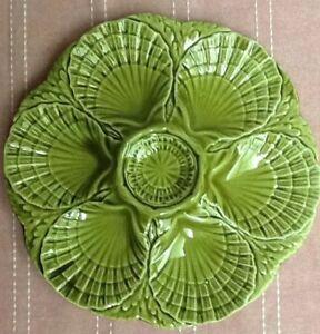 MAJOLICA 6 place vert antique oyster plate! lourd Texture. signé?-afficher le titre d`origine n9OCmwKe-09163858-441695352