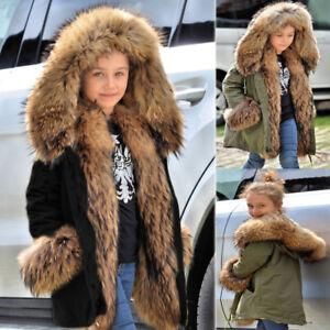 692dfdc76 Kid Girls Coat Winter Jacket Faux Fur Parka Hooded Warm Outwear ...