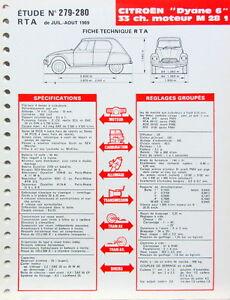 1969 citroen dyane 6 33 cv moteur m28 1 fiche technique rta ebay. Black Bedroom Furniture Sets. Home Design Ideas