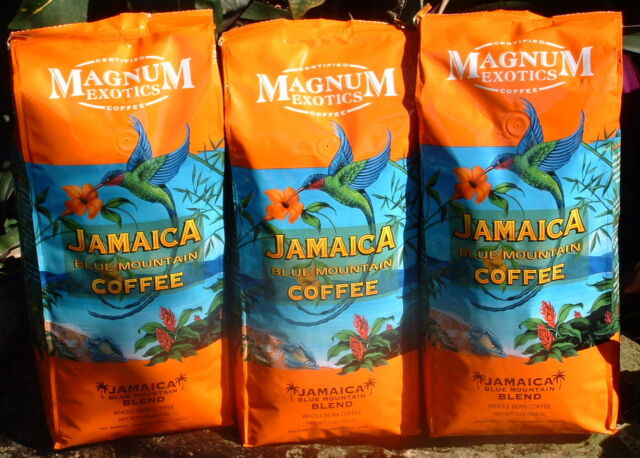 LOT OF JAMAICAN BLUE MOUNTAIN COFFEE BLEND WHOLE BEAN 8 LBS FREE PRIORITY SHIP