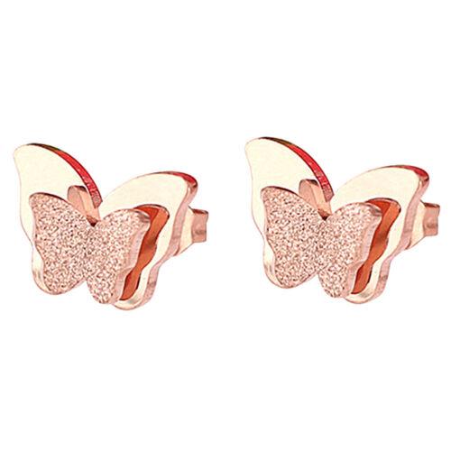 Femme Boucles D/'oreilles Clous Double Papillon Givré Dépoli Bijoux Elégante Mode