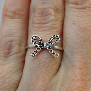 Bow-Ring-925-Sterling-Silver-Ribbon-Multiple-Sizes-Gift-Present-Clearance