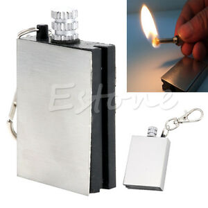 3pcs-New-Stainless-Steel-Permanent-Fire-Metal-Match-Lighter-With-key-ring