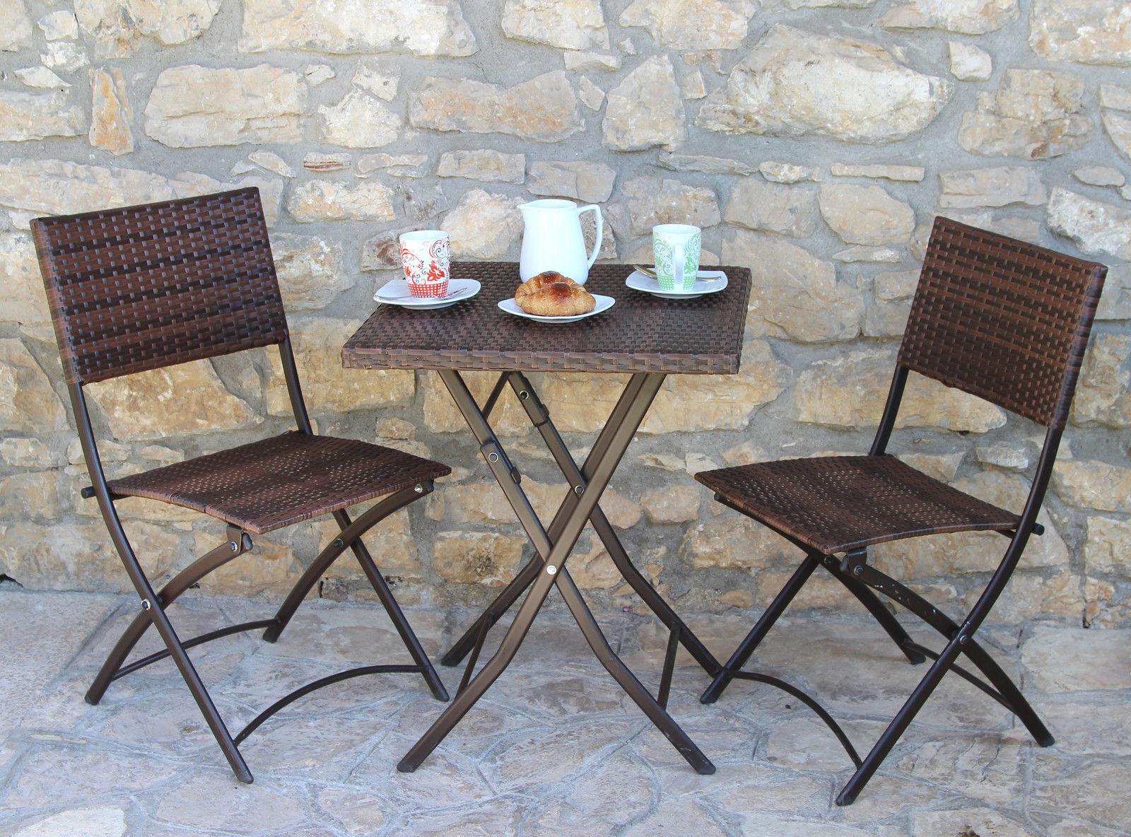 Set Duetto in polirattan ed acciaio pieghevole completo di sedie e tavolino