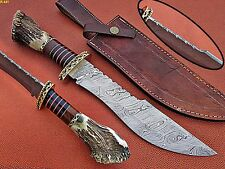 UNION KNIVES CUSTOM HAND MADE DAMASCUS STEEL BOWIE KNIFE WITH STAG HANDEL.
