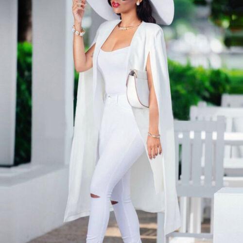 Women/'s Formal Cape Cardigan Blazer Suit Long Cloak Jacket Trench Coat Outwear