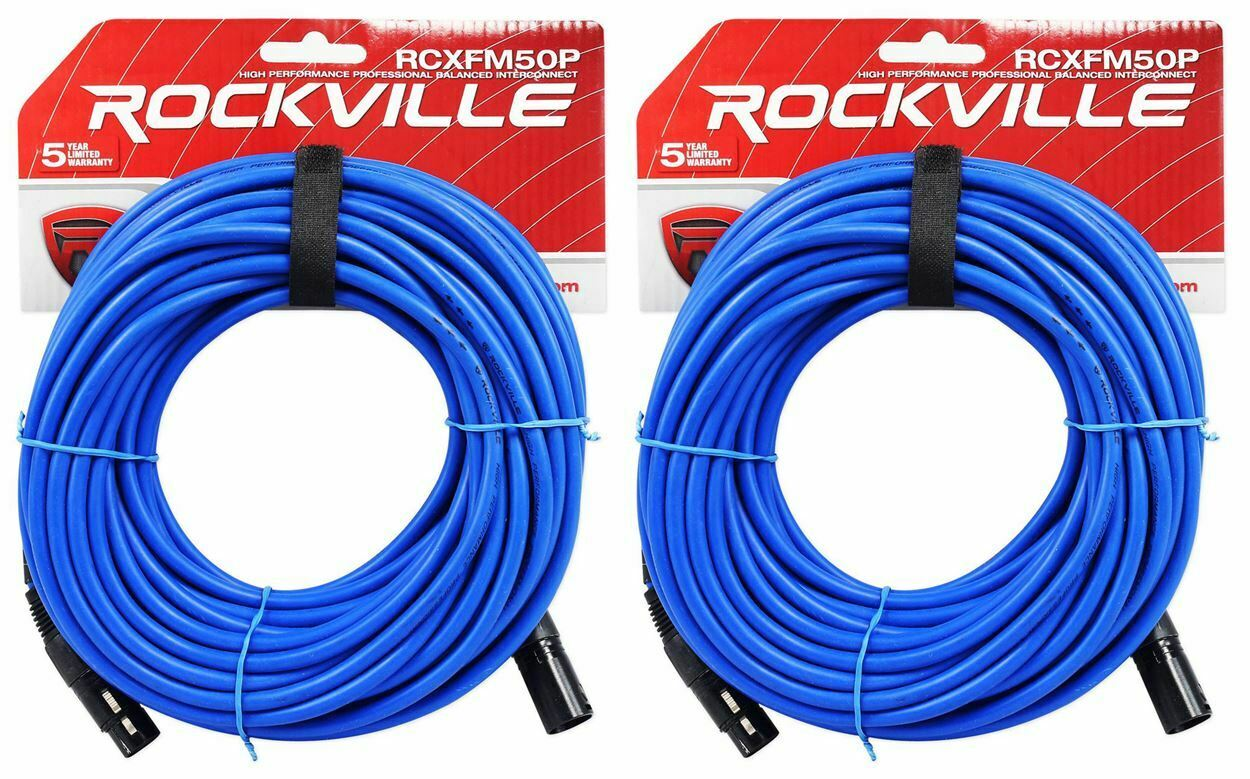 2 Rockville RCXFM50P-BL Blue 50' Female to Male REAN XLR Mic Cable 100% Copper. Buy it now for 26.99
