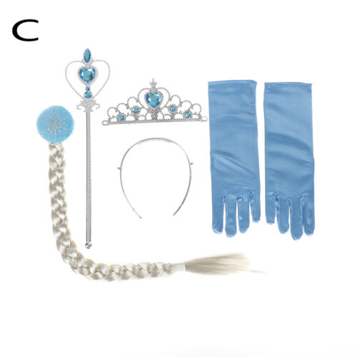 Kids Children Frozen Anna Elsa Tiara 4 pcs set Crown Wig Wand Gloves Dance、2018
