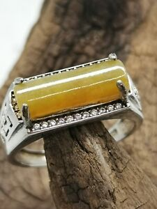 Certified Grade A Ice Yellow Burma Jadeite Jade Ring with 925 Silver / Free Size