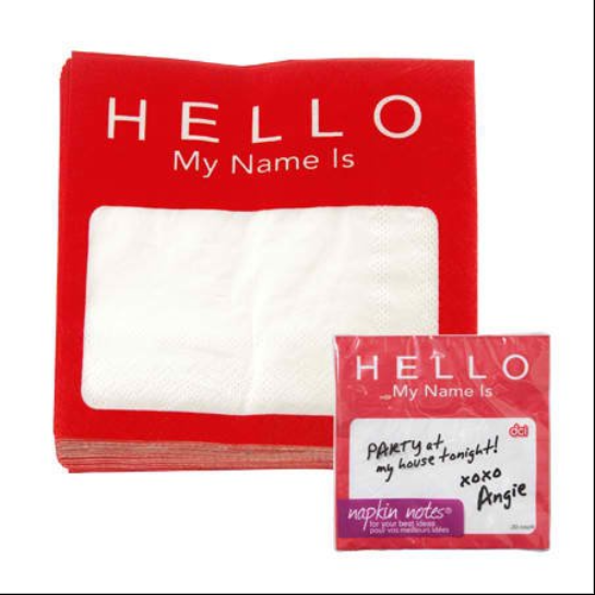 DCI Napkin Notes Cocktail Napkins, Name Tag, Pack of 20 ***** CLEARANCE Item