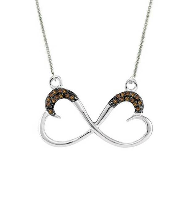"""Chocolate Brown Diamond Infinity Heart Necklace 10K White Gold 18"""" Length .10ct"""