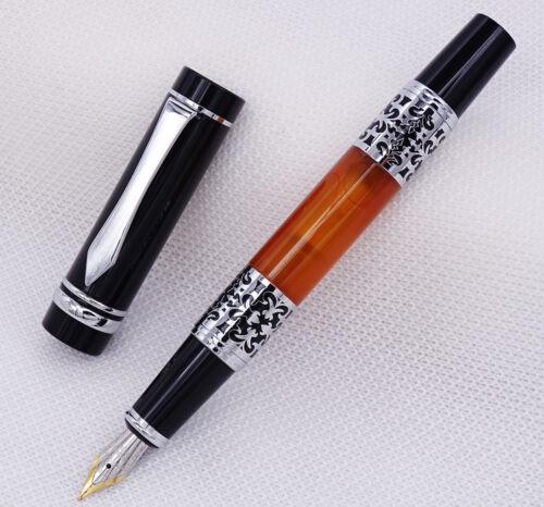 Yiren Celluloid Fountain Pen Luxurious Flower Pattern Medium Nib Writing Pen