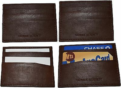 Espressive Lot Of 4 Nuovo Pelle Business Scheda Custodia 7 Credito Id Card Marroncino Bnwt