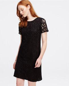 6359225c79a3 Image is loading Ann-Taylor-Petites-2P-Black-Lace-Shift-Dress-