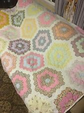 Beautiful Vintage Handmade Quilt Queen Size Antique Yellow Pink An White 82inx65