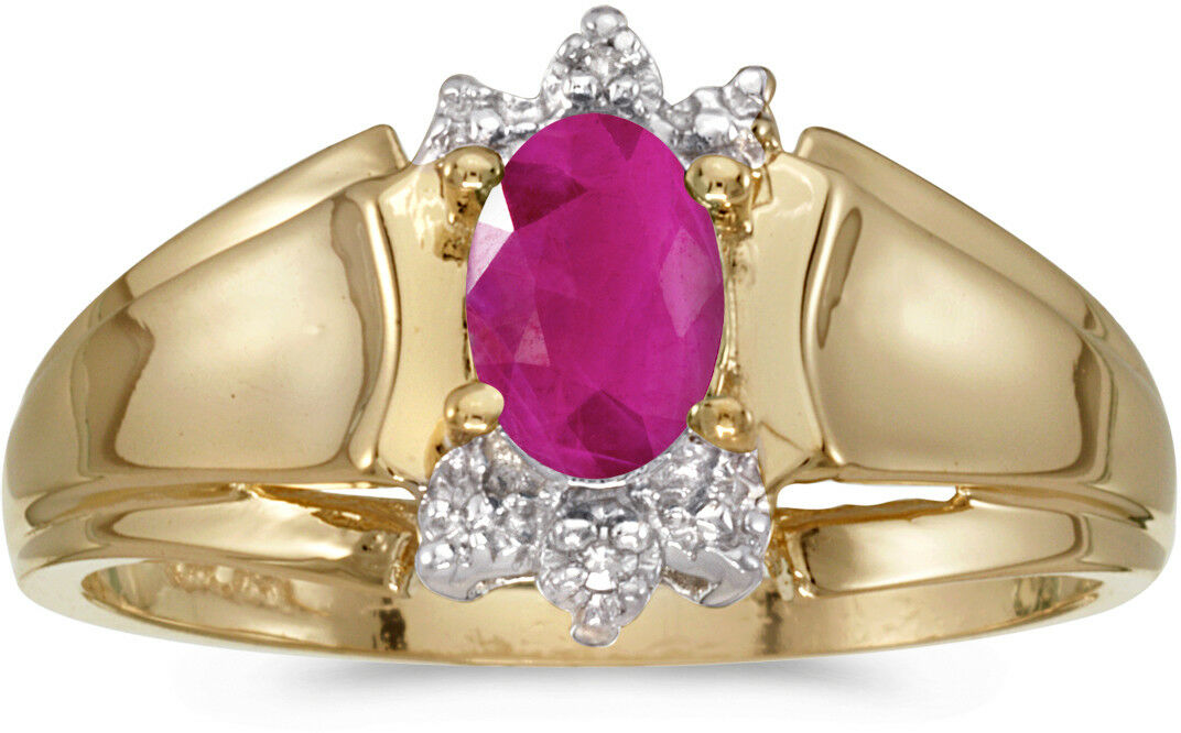 14k Yellow gold Oval Ruby And Diamond Ring (CM-RM869X-07)