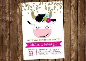 Cow Birthday Invitation, Cow, Invitation, Party, Cow Face, Gold