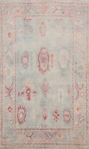Muted Hand-knotted Authentic Oushak Turkish Area Rug All-Over Vegetable Dye 5x7