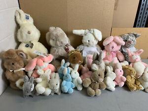 ~Lot of 24 GUND Stuffed Animal BUNNY RABBITS Plush Collection -Vintage 80's 90's