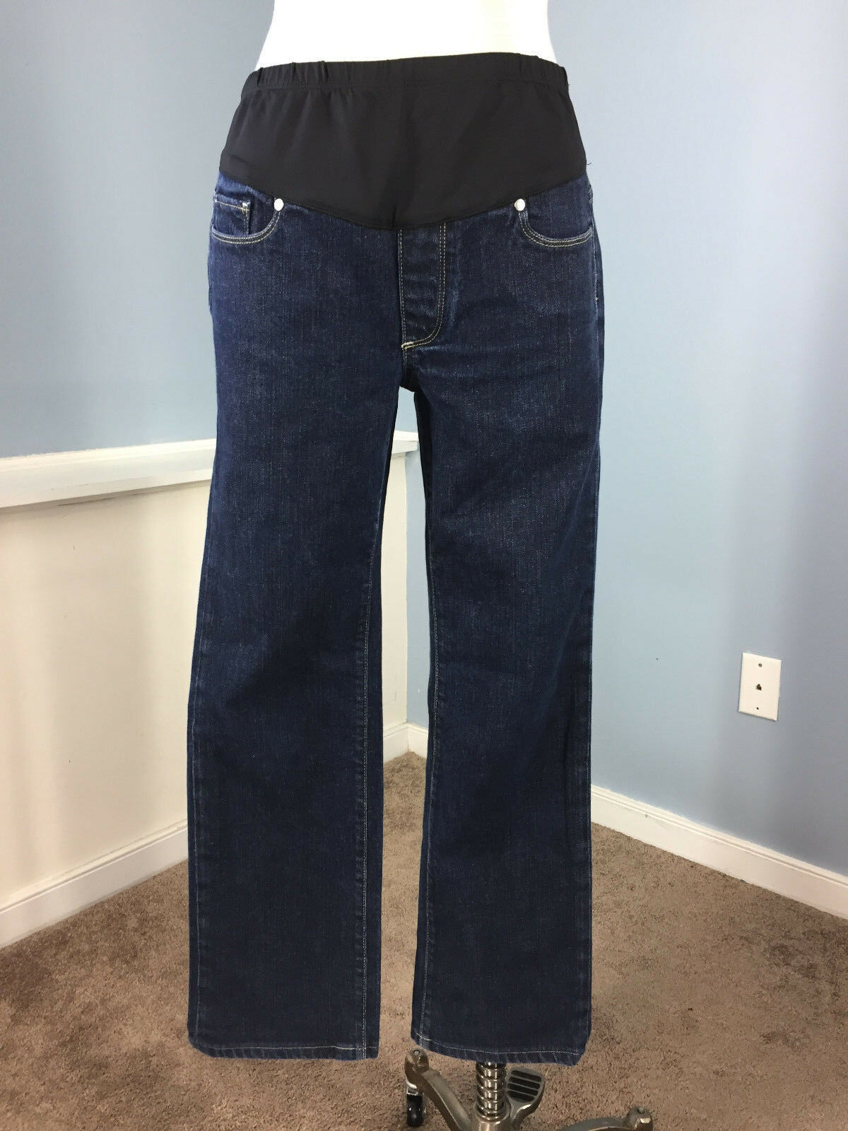 PAIGE Maternity Jeans 31 Melpink Dark wash straight Excellent belly panel