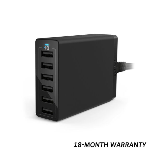 Anker 60W/12A 6-Port Desktop USB Wall Charger PowerPort 6 Power Cord-AU Black