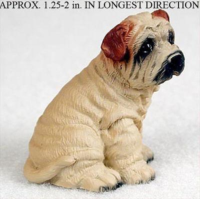Shar Pei Mini Resin Dog Figurine Statue Hand Painted Cream