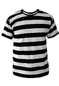 BLACK & WHITE STRIPED MENS T SHIRT PUNK CLASH PISTOLS Sid Vicious ...