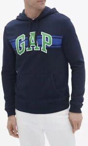 GAP-Men-Size-M-Chest-Stripe-Logo-Pullover-Hoodie-Sweatshirt-Light-Heather-Navy
