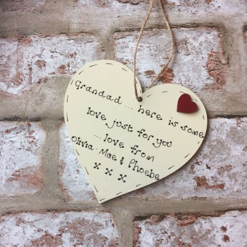 Fathers Day gift for grandad grandpa personalised  handmade wooden heart