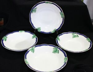 "FITZ and FLOYD Salad Soup Bowls GARDEN GATE Fine Bone China 7 5/8"" NEW Set of 4"