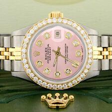 Rolex Datejust Ladies 2-Tone Gold/Steel 26mm Watch w/Pink Dial & Diamond Bezel