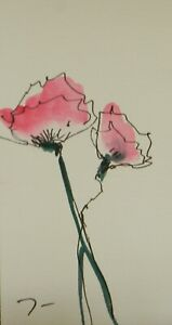 JOSE-TRUJILLO-ORIGINAL-Watercolor-Painting-SIGNED-Small-3x6-Pink-Roses-Poppies