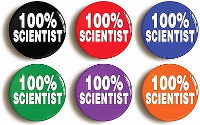 SCIENTIST SCIENCE STEM BADGE BUTTON PIN IN ORANGE Size is 1inch//25mm diameter