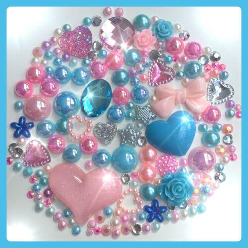 Hot Pink /& Blue Cabochons Gems /& Pearls flatbacks for decoden crafts cards