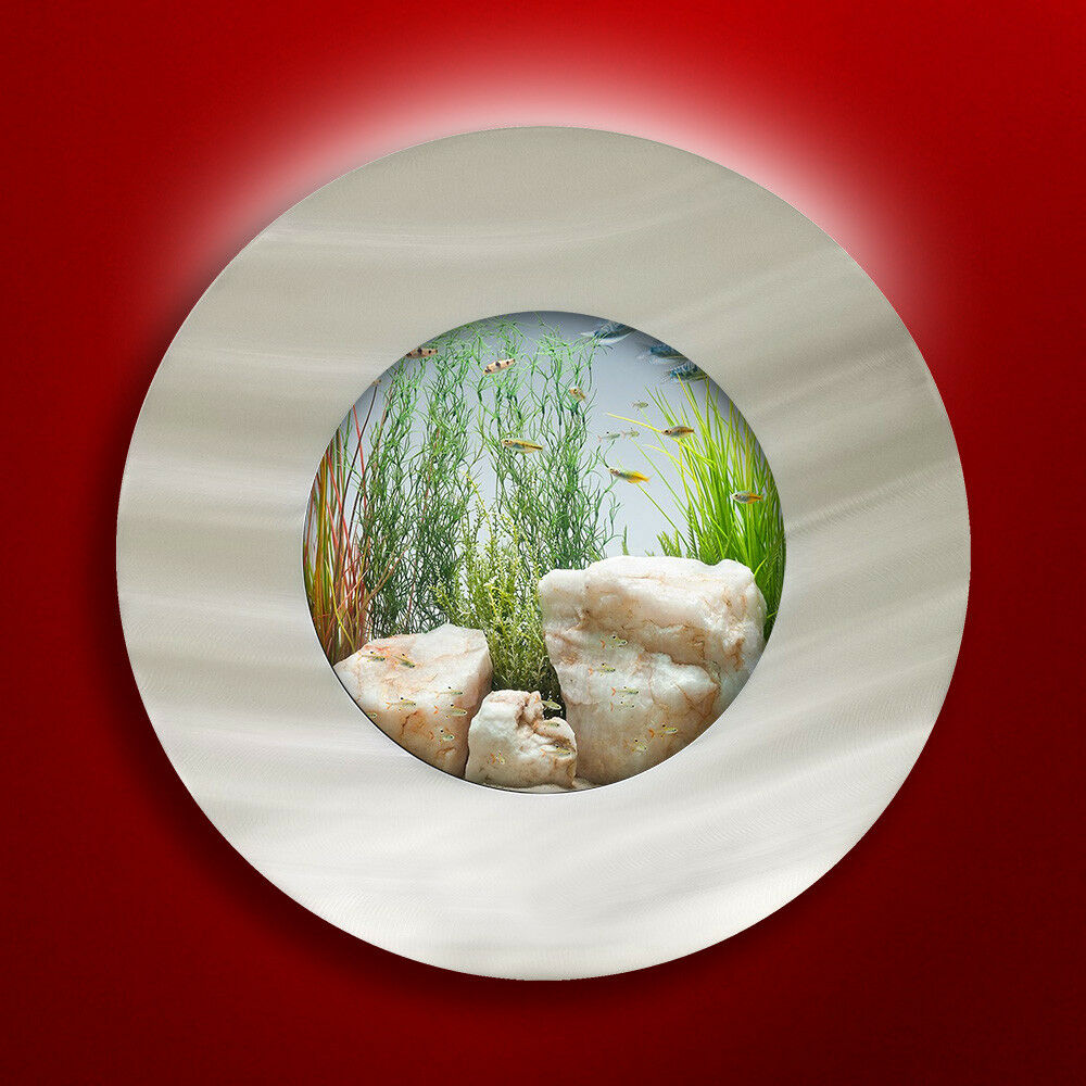 NEW  ORIGINAL AUSSIE AQUARIUM - PORTHOLE BRUSHED ALUMINUM WALL MOUNTED FISH TANK