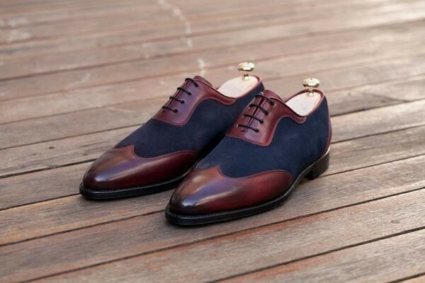 HANDMADE MEN TWO TONE BURGUNDY LEATHER blueE SUEDE POINTY MEN'S,BROGUE STYLE SHOE