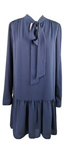 M-amp-S-Size-10-Navy-Blue-Long-Sleeve-Pussy-Bow-Drop-Waist-Dress-Lined-Party-Modest