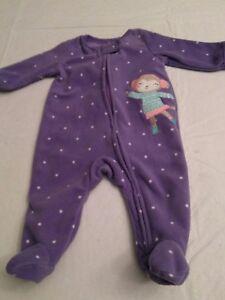 Baby-girl-long-sleeved-footed-blanket-sleeper-purple-newborn-monkey-ice-skater