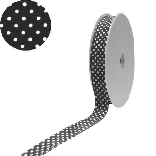 0.79 EUR//Meter 1 Rolle Baumwoll gepunktetes Schrägband 40//20 schwarz weiss