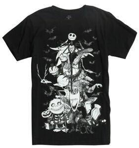Disney-Nightmare-Before-Christmas-Group-Sketch-Black-Men-039-s-Graphic-T-Shirt-New