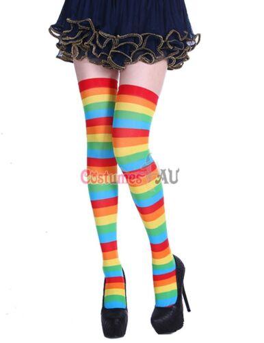 Womens Rainbow Tights Stockings Over Knee Highs Stripes Santa Christmas Xmas