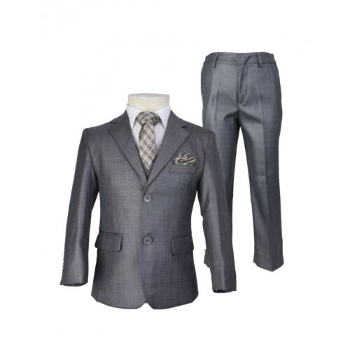 Boys Grey Slim Fit Suit Kids Prom Wedding Page boy Suits with Tie and Hankie