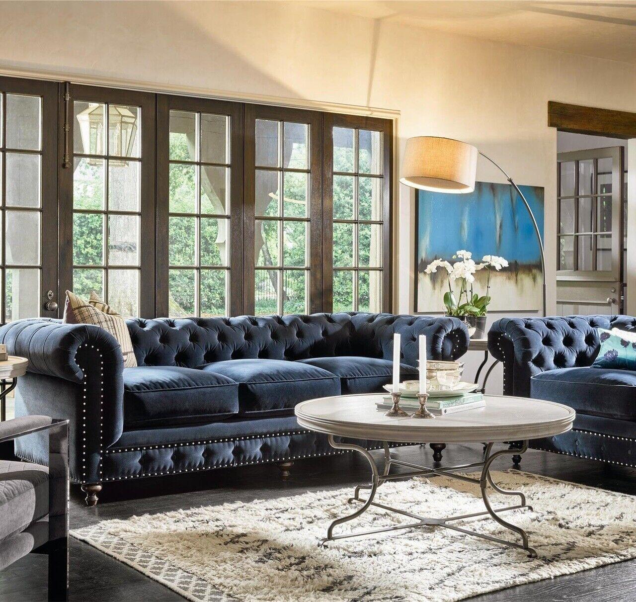 Chesterfield sofá couchen acolchado conjunto sofá tapizado de tela, cuero jvmoebel ®