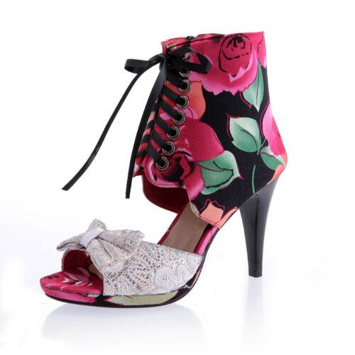 Ladies Floral Lace High Heel Bowknot Stilettos Summer Shoes Sandals Plus zengsel