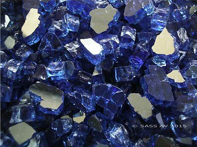 "20 Lbs ~1/2"" CHUNKY COBALT REFLECTIVE FIREGLASS Fireplace Fire Pit glass"