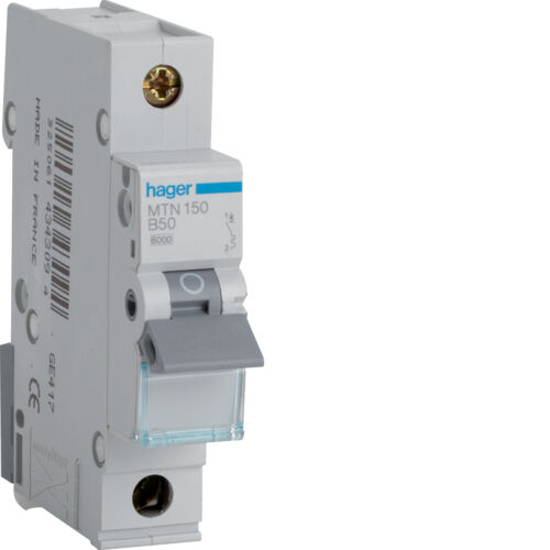 Hager 50 Amp Type B 6 KA MCB Circuit Breaker Mt150 B50 for sale online