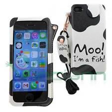 Custodia cover PORTACHIAVI MUCCA per Apple iPhone 5 5S sacchetto eco pelle