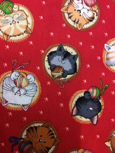 Paws By Fabri-quilt#1037 Cats On Red 100/% Cotton Fabric