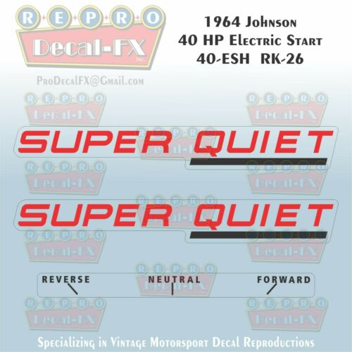 1964 Johnson 40HP RK-26 40-ESH Electric Super Quiet Outboard Repro Decals 3Pc